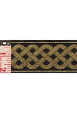 Cloak and Dagger Creations 3 Strand Celtic Braid Trim, Gold on Black - Wide