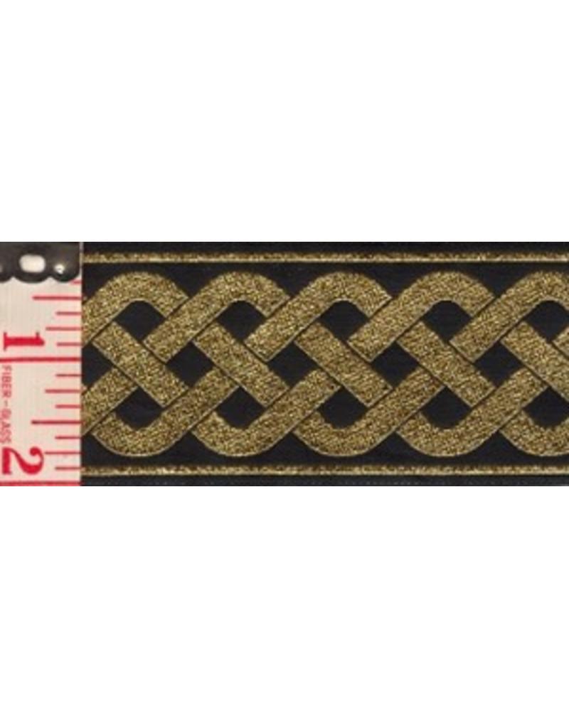 3 Strand Celtic Braid Trim, Gold on Black - Wide