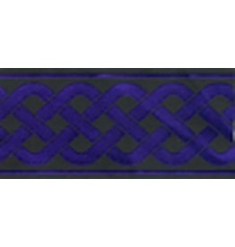 3 Strand Celtic Braid Trim, Purple on Black - Wide