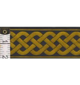 Cloak and Dagger Creations 3 Strand Celtic Braid Trim, Amber on Black - Wide