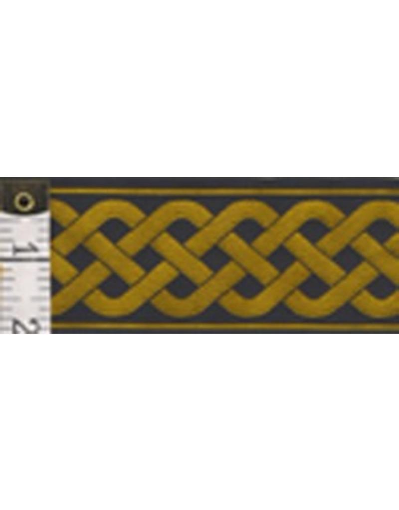 Cloak and Dagger Creations 3 Strand Celtic Braid Trim, Amber on Black - Wide