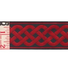 3 Strand Celtic Braid Trim, Red on Black - Wide
