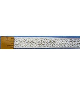 7 Petal Vine Trim, Gold on White