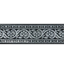 7 Petal Vine Trim, Silver on Black - Wide