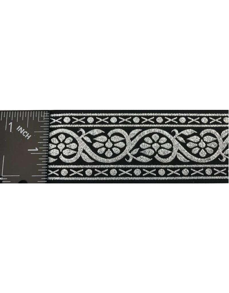 Cloak and Dagger Creations 7 Petal Vine Trim, Silver on Black - Wide