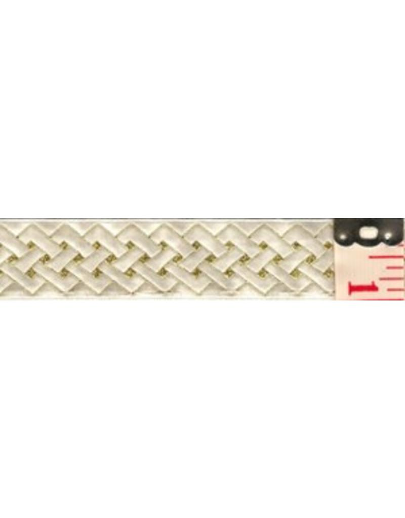 Cloak and Dagger Creations Angled Knot Trim, Gold on White