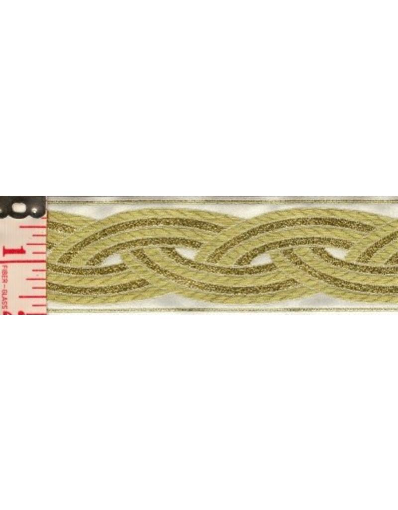 Cloak and Dagger Creations Braid Trim, Gold on White - Large