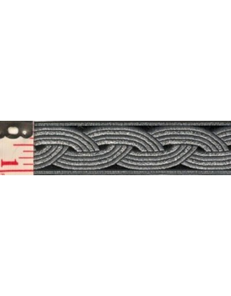 Cloak and Dagger Creations Braid Trim, Silver on Black - Small