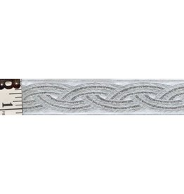 Braid Trim, Silver on White - Medium