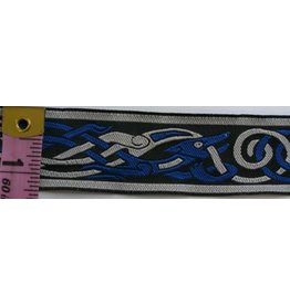 Cloak and Dagger Creations Celtic Beasties Trim, Blue/Grey on Black- Narrow