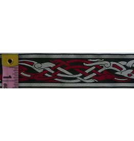 Cloak and Dagger Creations Celtic Beasties Trim, Red/Grey on Black - Narrow