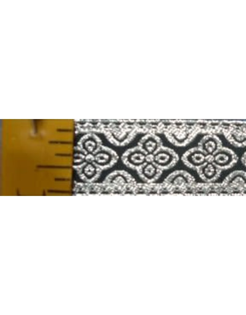 Cloak and Dagger Creations Clover Trim, Silver on Black