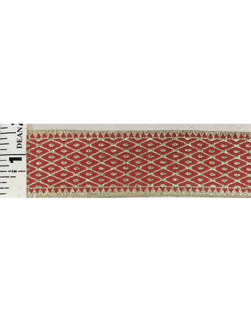 Cloak and Dagger Creations Diamonds and Dots Trim, Gold on Red