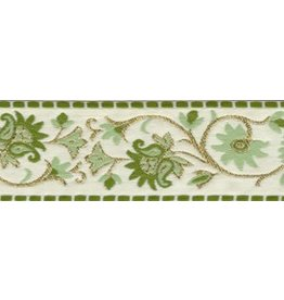 Cloak and Dagger Creations Elizabethan Floral Trim, Gold/Green