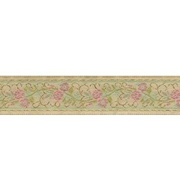 Floral Scroll Trim, Pink/Gold on Beige