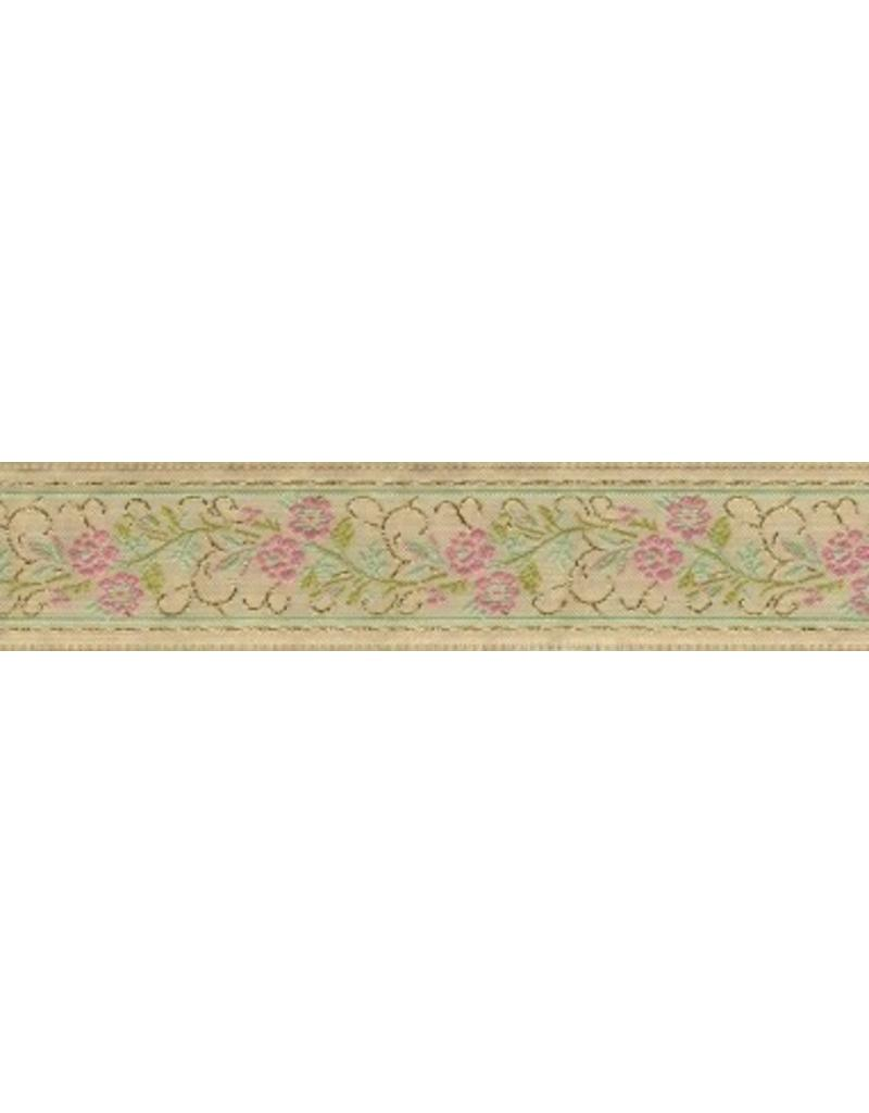 Cloak and Dagger Creations Floral Scroll Trim, Pink/Gold on Beige