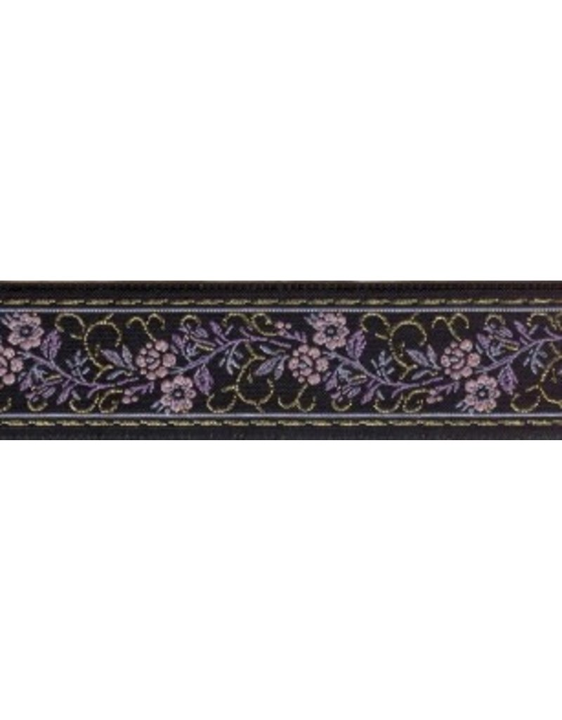 Cloak and Dagger Creations Floral Scroll Trim, Purple/Gold on Black