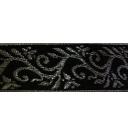Formal Vine Trim, Silver on Black