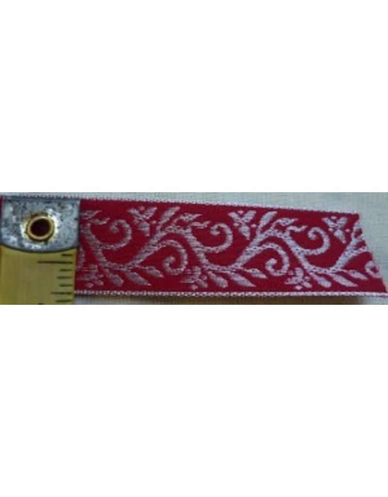 Cloak and Dagger Creations Formal Vine Trim, Silver on Red