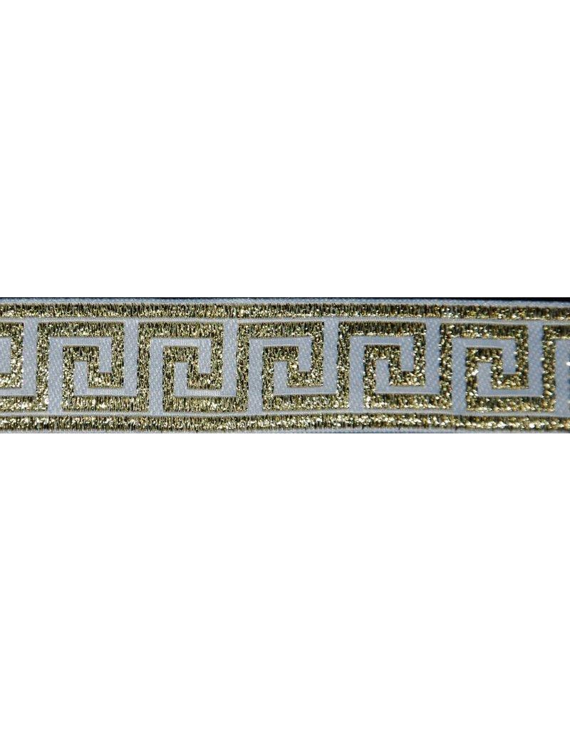 Cloak and Dagger Creations Greek Key Trim, Gold/White - Narrow