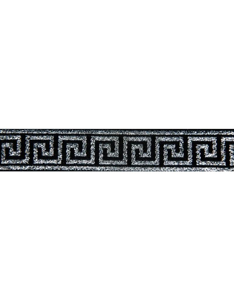 Cloak and Dagger Creations Greek Key Trim, Silver/Black - Narrow