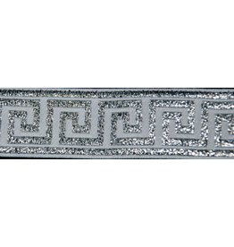 Greek Key Trim, Silver/White - Narrow