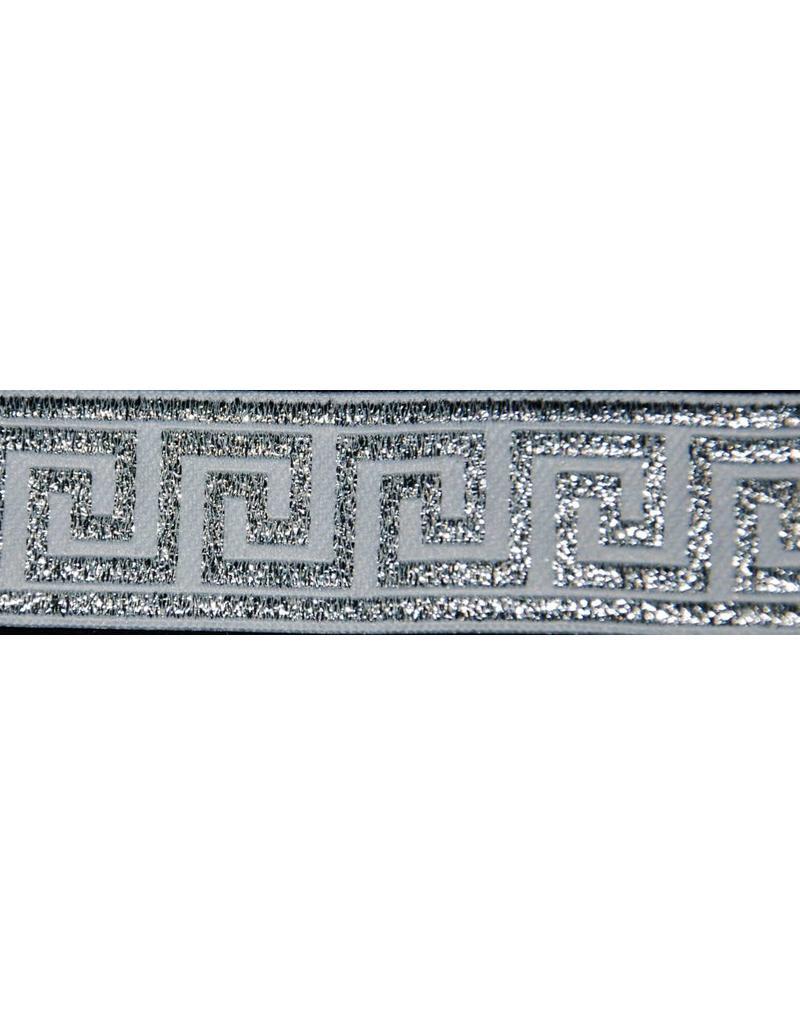 Cloak and Dagger Creations Greek Key Trim, Silver/White - Narrow
