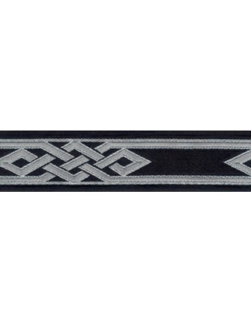 Cloak and Dagger Creations Mongolian Celtic Knot Trim, Silver/Grey on Black