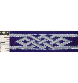 Mongolian Celtic Knot Trim, Silver/Grey on Purple