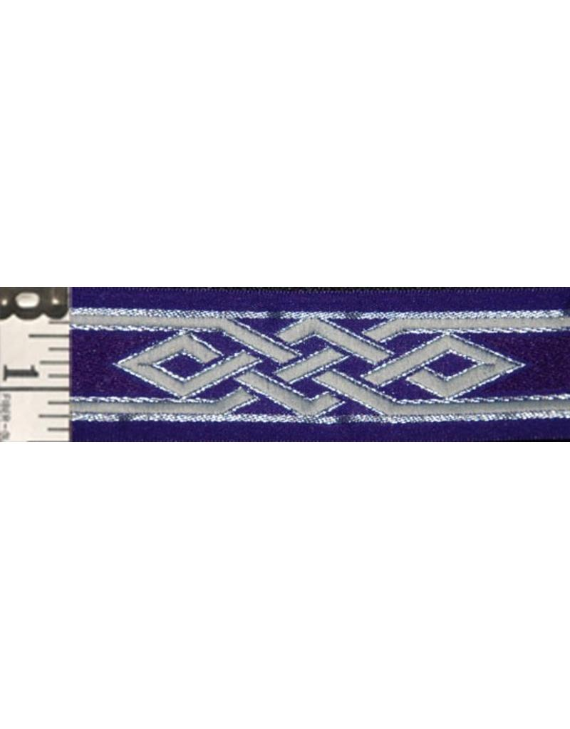 Cloak and Dagger Creations Mongolian Celtic Knot Trim, Silver/Grey on Purple