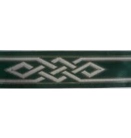 Cloak and Dagger Creations Mongolian Celtic Knot Trim, Silver/Grey on Green