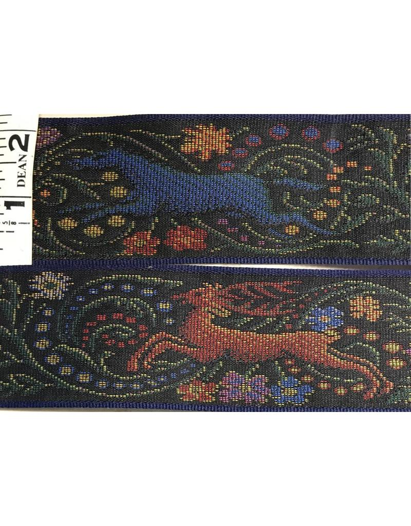 Cloak and Dagger Creations Hunt TapestryTrim Black with Red Stag and Blue Horse