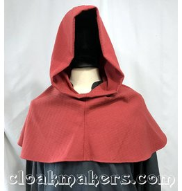 H161 – Salmon Pink Wool Hooded Cowl, Large