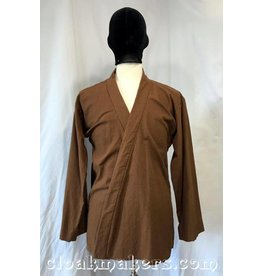 J516 - Brown Linen Open Necked Jedi Tunic - S/M
