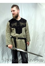 Cloak and Dagger Creations J585 - Brown Linen Viking Tunic with Wolf Embroidery - XXXL