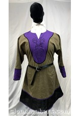Cloak and Dagger Creations J101 - Grey Linen Viking Tunic with Serpentine Wyvern Embroidery and Purple Details - XXXL