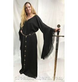 G972 - Black Wool Gown Dress with Lacey Drop Sleeves