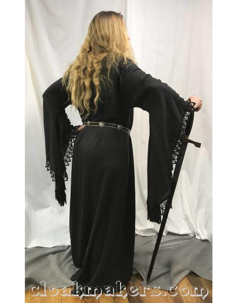 Cloak and Dagger Creations G972 - Black Wool Gown Dress with Lacey Drop Sleeves