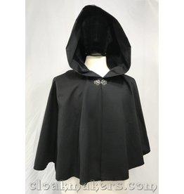 3810 - Short Black Poplin Full Circle Cloak