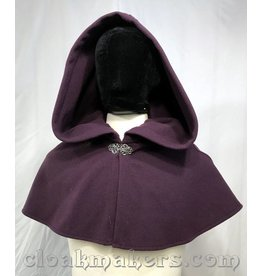 3808 - Plum Purple Wool Shaped Shoulder Cloak