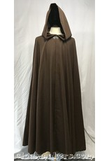3800 - Brown Faux Linen Full Circle Cloak with Long Pointy Liripipe Hood