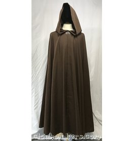 Cloak and Dagger Creations 3800 - Brown Faux Linen Full Circle Cloak with Long Pointy Liripipe Hood