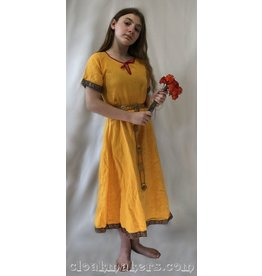 G997 - Marigold Yellow Gown Dress with Double Celtic Knot Trim - Youth