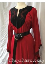 Cloak and Dagger Creations G999 - Red Linen Gown with Pockets, Celtic Dog Trim and Stag Embroidery