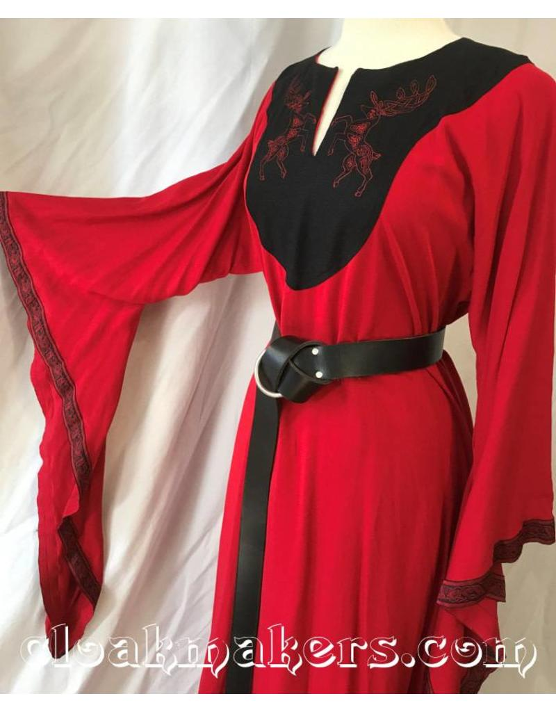 G999 - Red Linen Gown with Pockets, Celtic Dog Trim and Stag Embroidery