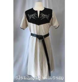Cloak and Dagger Creations J599 - Natural Linen Long Viking Tunic with Wolf Embroidery - XL