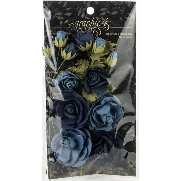 Graphic 45 Staples Rose Bouquet Collection (bon voyage & french blue)