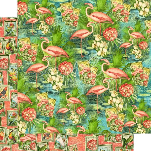 Graphic 45 Lost In Paradise Cardstock 12X12 (flamingo lagoon)