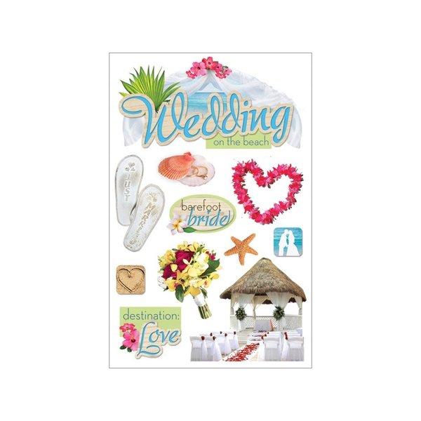 Paper House 3D Stickers (beach wedding)