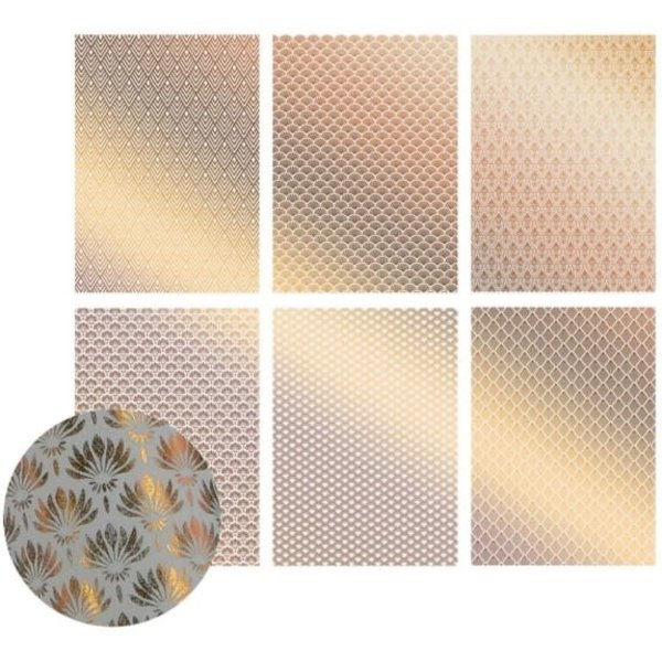 Ultimate Crafts Foiled Vellum A4 12/Pkg-The Ritz W/Bronze, 6 Designs/2 Each